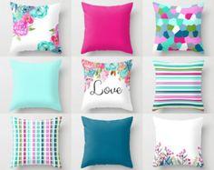 Throw Pillow Covers Watercolor Floral Pillow Covers Mix and .- Throw Pillow Covers Watercolor Floral Pillow Covers Mix and Match Geometric Designs Lumbar Decorative Pillows - Teal Pillow Covers, Teal Pillows, Silver Pillows, Pillow Cover Design, Floral Pillows, Diy Pillows, Throw Pillows, Pillow Ideas, Sewing Pillows