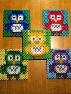 Owl 8 bit perler bead coasters. $10.00, via Etsy.
