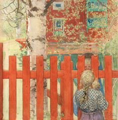 """CARL LARSSON, """"Staketet / Vid staketet"""" (The Fence / By the Fence). Signed C.L. within a circle and dated 1904. Watercolour 64.... - The Spring Classic Sale, Stockholm 568 – Bukowskis"""