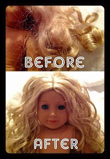 "All Things With Purpose: {DIY} Fixing Your American Girl Doll's Hair without a Trip to the Doll Hospital: featuring Caroline. Tips learned from AG doll salon: never brush dry hair, always wet it. Use a wire brush. To ""redo"" curls, wrap wet hair around a circular object, hold for about 15 seconds and unwind."