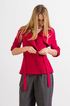 Giacca trench a portafoglio rosso acceso --- Red trench/jacket by NunaLie