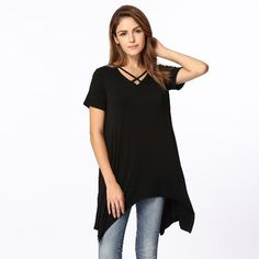 CHICUU - CHICUU Summer Asymmetric V Neck Short Sleeve Solid Loose Casual Women's T-Shirt - AdoreWe.com