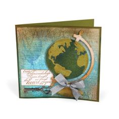 Vintage Globe Card by Deena Zieglar for Sizzix using vintage globe die cut.