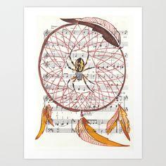 "'Grandmother Dream Weaver' 9"" x 12"" Acrylic on Sheet Music Art Print by Janin Wise   Society6"