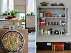 Love the colors, vintage tins, and always love glass doors on cabinets! Perfect place to keep spices.