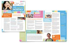Newsletter Design Template. Many different layout ideas. Looks like some things break the grid.