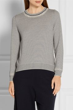 A.P.C. ATELIER DE PRODUCTION ET DE CRÉATION Flynn pointelle-trimmed striped cotton and cashmere-blend sweater  $235.00 https://www.net-a-porter.com/product/736921