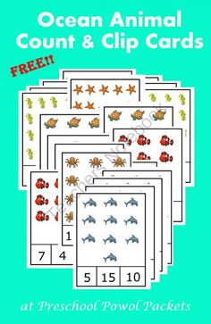 Ocean Animals Count & Clip Cards from PreschoolPowolPackets on TeachersNotebook.com -  (6 pages)  - Count the cute ocean animals and clip the right number with a clothes pin or paper clip!!  Numbers 1-20!