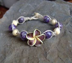 Hemp Bracelet Hemp Jewelry w Purple Hawaiian Plumeria Flower and Purple Stone Beads via Etsy
