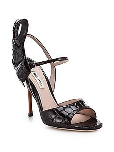 Miu Miu Stamped Coco Croc-Embossed Patent Leather Bow Sandals