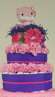 Pink and Purple Hello Kitty Diaper Cake