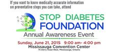 Stop Diabetes Foundation Annual Awareness Event! Diabetes Foundation, 21 June, Door Prizes, Free Entry, Convention Centre, Sunday, Canada, Lunch, Live