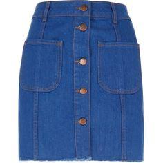 River Island Denim '70s skirt (270 DKK) ❤ liked on Polyvore featuring skirts, mini skirts, women, short mini skirts, blue mini skirt, short denim skirts, button front denim skirt and short blue skirt