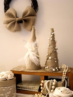 Burlap Shabby Chic Christmas Tree...this looks easy enough!