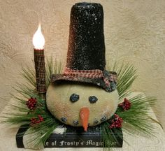 Handmade Primitive Winter Christmas Lighted by Cholula's Attic
