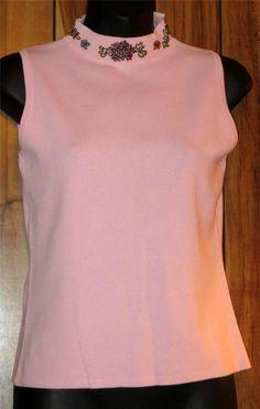 NWT Woman's Pink Beaded Collar Top - Joseph A Qu'est-Ce Que C'Est silk? Sz Med