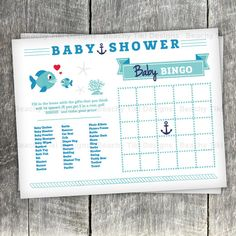 Baby Shower Bingo Game Printable - Nautical, fish, baby boy, baby shower game idea, navy blue and turquoise