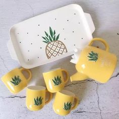 Source 2018 New Product Unicorn Design Tea Kettle/Ceramic Tea Cup Set/Pot Sets o. Pineapple Tea, Pineapple Kitchen, Pineapple Design, Tea Pot Set, Pot Sets, Cute Mugs, Cute Tea Cups, Vintage Modern, Cupping Set