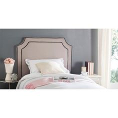 Safavieh  Dane Taupe/ Black Piping Linen Upholstered Headboard (Twin) - Walmart.com