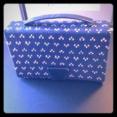 Vintage/Retro  HandbagHP 12/29 Fabulous Navy Blue with Pink Pattern Vintage / Retro Handbag From the 40's. Pristine condition inside and outside. Snap closure and leather handle. Inside large mirror and satin lined compartment. Very Cool Bag Bags