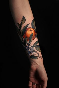A delicate delicacy. Left Arm Tattoos, Cover Up Tattoos, Sleeve Tattoos, Dream Tattoos, New Tattoos, Tatoos, Fruit Tattoo, Branch Tattoo, Tattoo Addiction