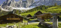 Alm met Dachstein op de achtergrond © Steiermark Tourismus / Bigshot Klagenfurt, Austria, Cabin, Mountains, House Styles, Nature, Travel, Graz, Voyage