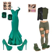 """green contest"" by trancy279 ❤ liked on Polyvore featuring Live the Process, Versace, Zac Posen, CARAT* London, Mystic Sea and O.X.S"