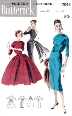 Beautiful 1950s style dress pattern with draped, bateau neckline in front, back neckline dips into a deep V shape. Three style variations: (A) Sheath with below-elbow sleeves. (B) Sheath adds a contrasting cummerbund with a floating back panel. (C) Full-skirted dress.  Suggested Materials: satin, Taffeta, velveteen, shantung, cotton broadcloth, pique, linen, sheer or lightweight wools.  Bust 38 Waist 30 Hips 40 ★ ★ ★ ★ ★ ★ ★ ★  You will receive a high quality reproduction with full scale…