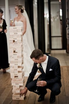 Giant Jenga... how fun for guests while they wait for photos to be taken!