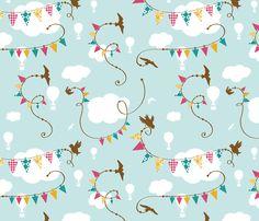 birdie bunting fabric by rottendoxie on Spoonflower - custom fabric