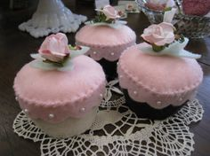 Set of 3 Pink Cupcakes