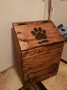large wooden dog food storage container by