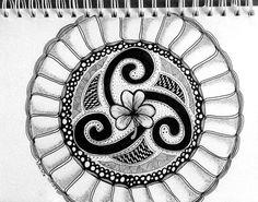 Celtic Triskel - Triskellion -Triskele.  It was so much fun to make this Zendala. #zendoodle #zentangle #zendala #triskel
