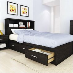 Willow Queen Storage Bed with Bookcase in Ravenwood Black  by  Sonax