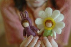 springy needle felted dolls. Omg the bunny girl. So cute!