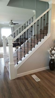 Modern Stair Railing Designs That Are Perfect! Looking for Modern Stair Railing Ideas? Check out our photo gallery of Modern Stair Railing Ideas Here.Looking for Modern Stair Railing Ideas? Check out our photo gallery of Modern Stair Railing Ideas Here. Modern Stair Railing, Stair Banister, Stair Railing Design, Modern Stairs, Banisters, Stair Case Railing Ideas, Iron Balusters, Rod Iron Railing, Stair Bannister Ideas