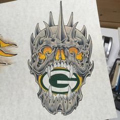 Green Bay Packer skull. I'd love to do this as a Tattoo. Call me at 920-544-5583 to set up the appointment. #art #illustration #drawing #draw #picture #artist #sketch #sketchbook #digital #pen #pencil...