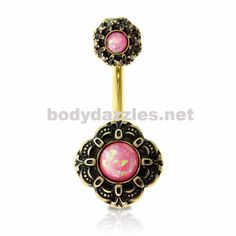 Gold Plated Pink Opal Centered Belly Ring 316L Surgical Steel Navel Ring