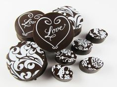Love Heart - Transfer Sheets for Chocolate Sandwich Cookies - http://americanchocolatedesigns.com/transfer_sheets.php#cookies