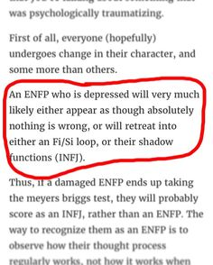 I've been depressed for over a year, and consider myself quite broken/damaged. I used to think I was an Extrovert, but I conclusively tested as an introvert. This is interesting. Read the whole thing... I thought I was an INTJ or INFJ, I might be an ENFJ... hmmm.