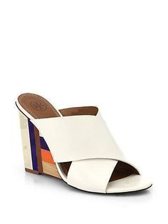 TORY BURCH 'Cube' Leather Crossover Strap Wedge Sandal