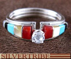 Native American Multicolor Inlay Silver Ring GS56250