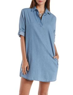 Collared Chambray Shift Dress by Charlotte Russe - Chambray