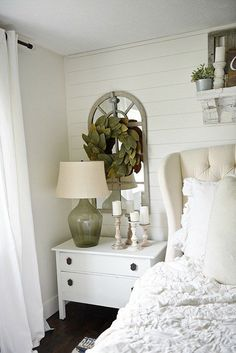Horn White Nightstand Makeover Neutral master bedroom - Nightstand makeover with magnolia home paint in one horn white. A must pin for farmhouse style & cottage style decor!Master Chief Master Chief may refer to: Oak Bedroom, Farmhouse Master Bedroom, Bedroom Decor, Bedroom Ideas, Bedroom Neutral, Headboard Ideas, Teen Bedroom, Walnut Bedroom, Decor Room