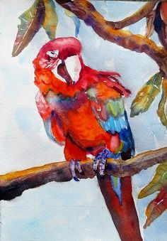 Parrot on a branch (Painting) by Agnes Mclaughlin