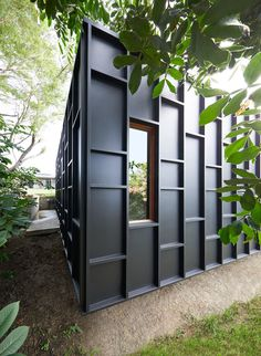House Siding Ideas - The exterior of this modern house is covered in black fibre cement sheets with matching black battens, that create dimension and define the window locations. Australian Architecture, Australian Homes, Architecture Design, Facade Design, Cladding Design, Victorian Architecture, Architecture Portfolio, Futuristic Architecture, Sustainable Architecture