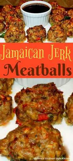 Jamaican Jerk Meatballs …substitute ground pork rinds for breadcrumbs. Meatball Recipes, Meat Recipes, Cooking Recipes, Healthy Recipes, Spicy Food Recipes, Healthy Food, Oven Recipes, Recipies, Meat Appetizers