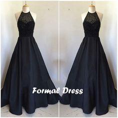 Black Satin Long Prom Dresses,Formal Dresses #coniefox #2016prom
