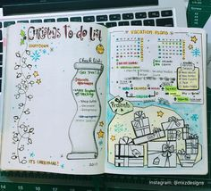 My Christmas Countdown, To-Do, Gift List and Vacation Planning Overview All in One! Bullet Journal Vacation, Bullet Journal Lists, December Bullet Journal, Bullet Journal Spread, Bullet Journal Inspiration, Christmas Gift List, Christmas Countdown, Bujo, Journal Pages