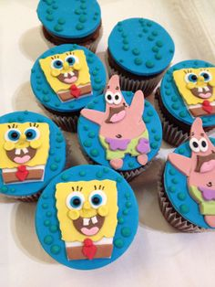 Sponge bob cup cake toppers